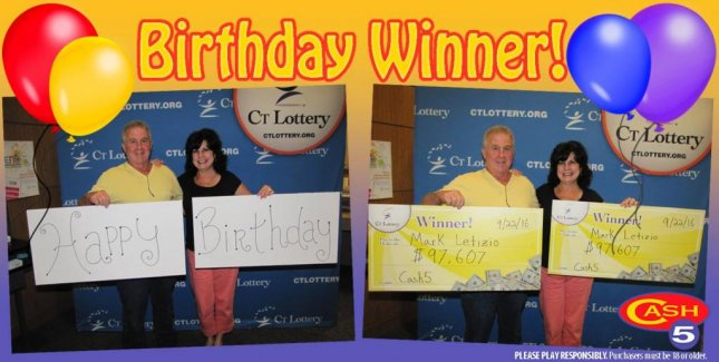 A Connecticut man celebrated his birthday by collecting a lottery jackpot worth nearly $200,000. Photo courtesy of the Connecticut Lottery