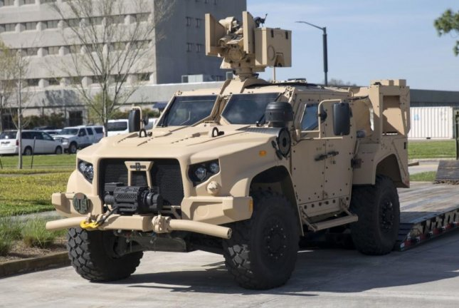 The Joint Light Tactical Vehicle is showcased for Marines after an executive brief at Marine Forces Reserve, New Orleans, La., on March 9, 2018. Photo by Sgt. Adwin Esters/U.S. Marine Corps