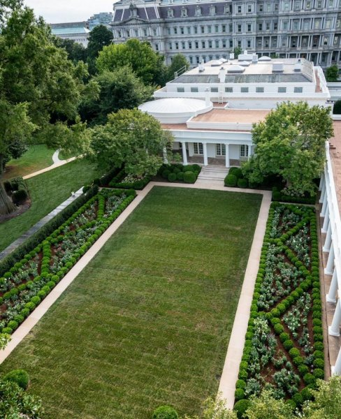 A view of the newly renovated Rose Garden is shown. Photo courtesy of Melania Trump/Twitter