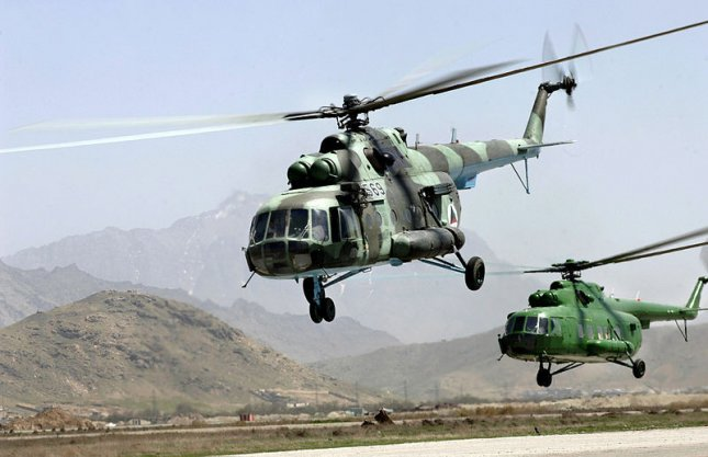 Two Mi-171Sh helicopters belonging to the Afghan National Air Corps, via Wikimedia Commons.