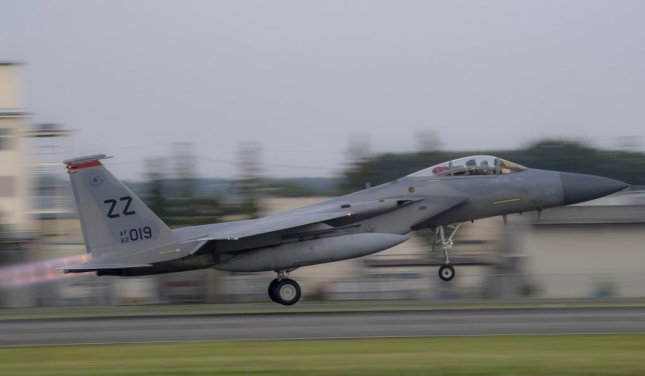 Saudi Arabia's new batch of F-15SA aircraft come equipped with updated warfighting technologies such as Active Electronically Scanned Array radars. Pictured, a U.S. Air Force F-15 Eagle takes off at Kadena Air Base in Japan. Photo by Yasuo Osakabe/U.S. Air Force