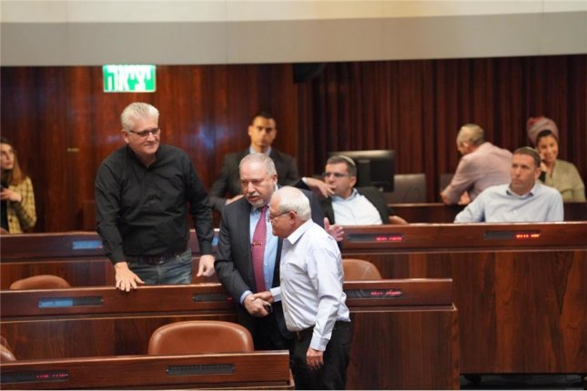 Parliament member Katz is shown in front during the debate over his request for immunity Monday. Photo courtesy of The Knesset