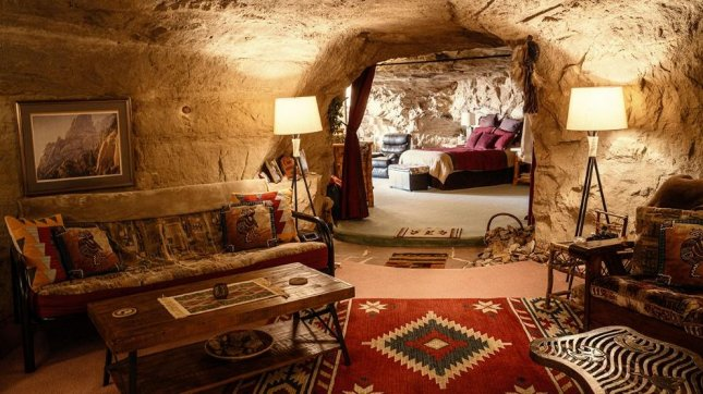 A man-made cave 50 feet below ground in New Mexico is being offered for the week of the U.S. election on Hotels.com for customers seeking to live under a rock and escape the news cycle. Photo courtesy of Hotels.com