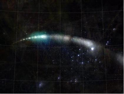 Comet Holmes flew by Earth in 2007. This is a composite image of the comet, created by astronomers who reconstructed the comet's orbit using photos from the Internet. Credit: Dustin Lang and David W. Hogg
