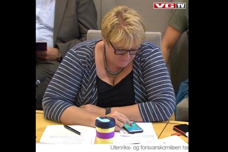 Norwegian Liberal Party leader Trine Skei Grande plays Pokemon Go during a parliamentary hearing. Screenshot: VGTV/Facebook