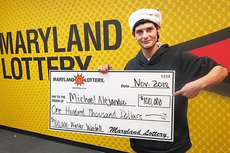 A Maryland man had a lucky day when he won a turkey raffle and a $100,000 lottery jackpot. Photo courtesy of the Maryland Lottery