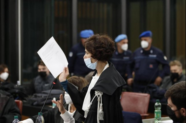 Prosecutor Maria Sabina Calabretta delivers her speech during a hearing of the trial of Gabriel Natale-Hjorth, and Finnegan Lee Elder, both from the United States, where they are accused of slaying the Carabinieri paramilitary police officer Mario Cerciello Rega, in Rome, Italy, Saturday. Photo by Alessandra Tarantino/EPA-EFE