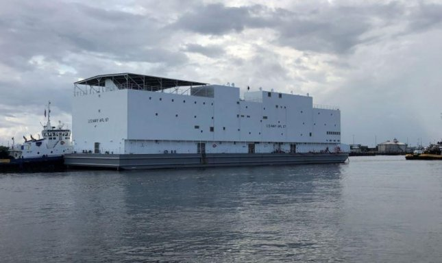 A new berthing barge, or auxiliary personnel lighter, was launched this week and delivered to the U.S. Navy. Photo courtesy of U.S. Navy