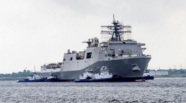 The Navy's newest landing platform dock ship, the future USS Fort Lauderdale, was successfully launched in Pascagoula, Miss., on March 28, 2020. Photo courtesy of U.S. Navy