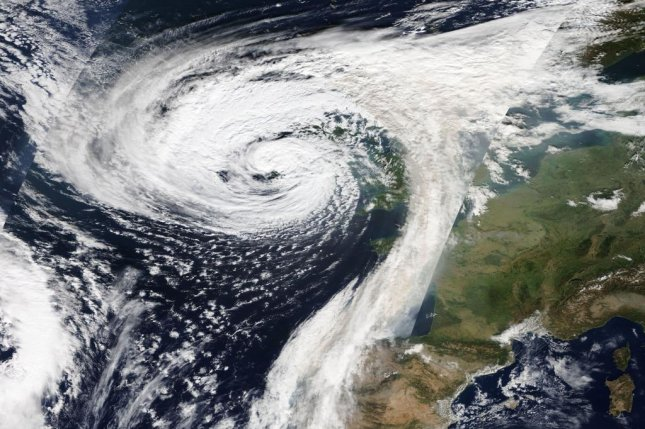 The ex-hurricane Ophelia caused flooding across the British Isles in October 2017. Photo by NASA/EOSDIS
