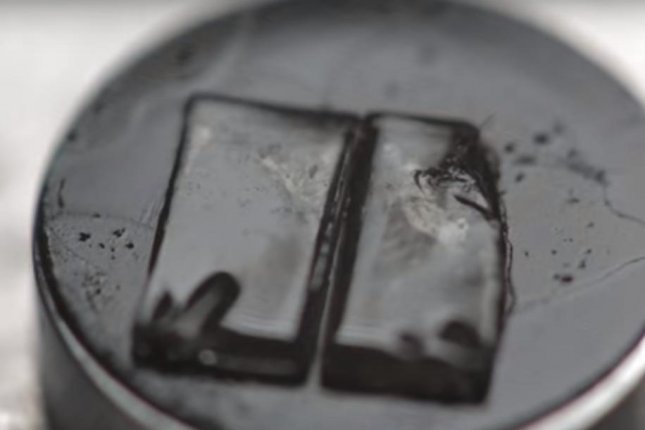 When cut, the material's molecules re-bond at body temperature. Photo by University of Reading