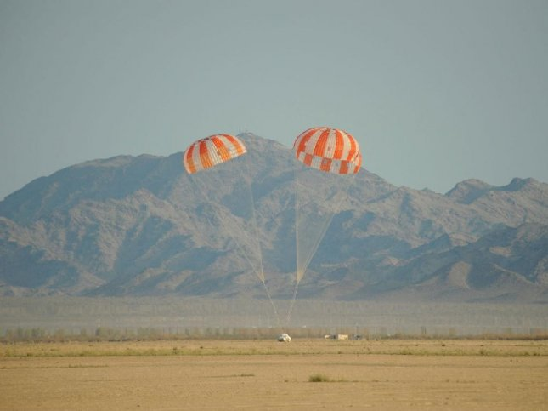 Test vehicle makes a successful landing. Credit: NASA