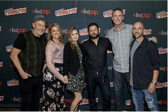 From left to right: Corbin Bernsen, Kirsten Nelson, Maggie Lawson, James Roday, Steve Franks and Chris Henze. Photo by Cindy Ord/USA Network