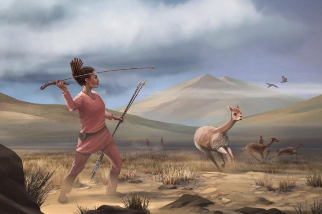 An illustration imagines what a female hunter in the Andes might have looked 9,000 years ago. Photo by Matthew Verdolivo, UC Davis IET Academic Technology Services