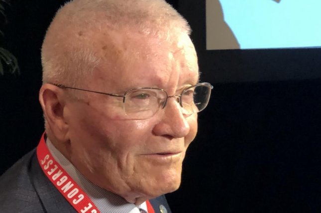 Apollo 13 astronaut Fred Haise spoke Tuesday at the 46th Annual Space Congress in Cocoa Beach, Fla. Photo by Paul Brinkmann/UPI