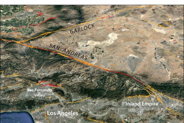 The greater Los Angeles area lies near the San Andreas Fault, which researchers said Monday is at greater risk for an earthquake following two tremblors last year. Photo courtesy of Temblor