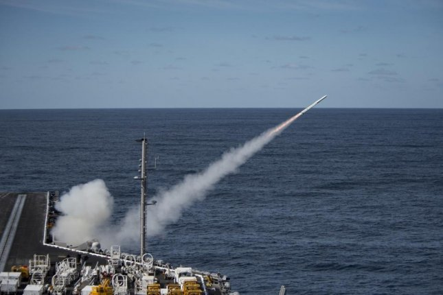 An Evolved Sea Sparrow Missile launches from the aircraft carrier USS Dwight D. Eisenhower during a live-fire missile exercise in the Atlantic Ocean on April 21, 2016. Photo by Mass Communication Specialist 3rd Class J. Alexander Delgado/U.S. Navy
