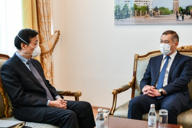 Kazakhstan said Tuesday Chinese Ambassador Zhang Xiao (L) was summoned to the foreign ministry following the publication of a Chinese article addressing the issue of Kazakhstan's territory. Photo courtesy of the Ministry of Foreign Affairs, Republic of Kazakhstan