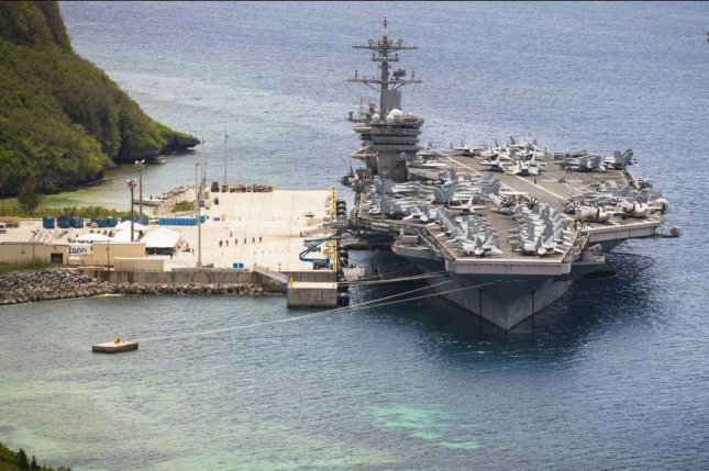 Two sailors with COVID-19 symptoms were evacuated from the aircraft carrier USS Theodore Roosevelt this week, the Naval Air Forces said. Photo courtesy of U.S. Navy