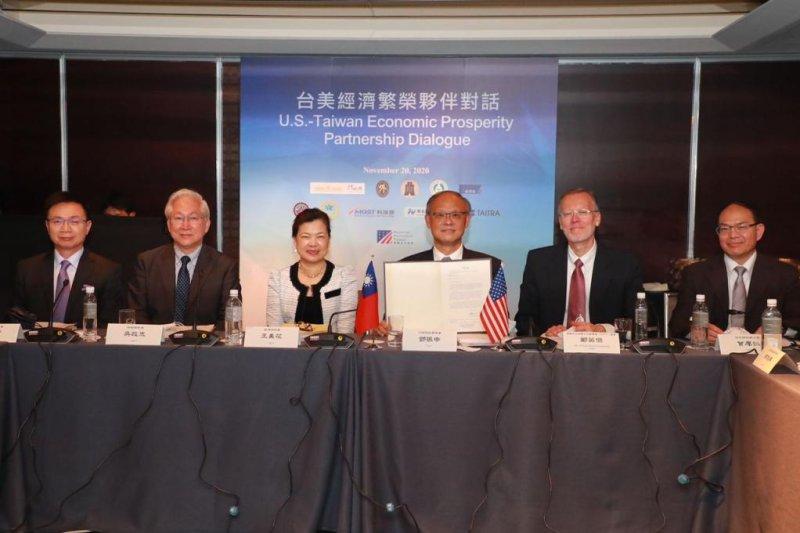 A five-year memorandum of understanding was signed at the U.S.-Taiwan Economic Prosperity Partnership Dialogue on Friday. Photo courtesy of Taiwan President Tsai Ing-Wen/Twitter