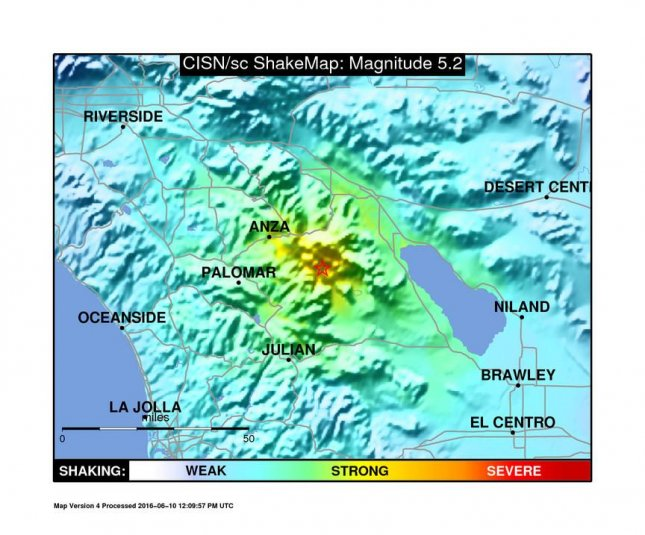 A 5.2 earthquake and subsequent aftershocks rocked Southern California Friday. The center of the quake originated near Borrego Springs, in San Diego County. Photo courtesy of the U.S. Geological Survey