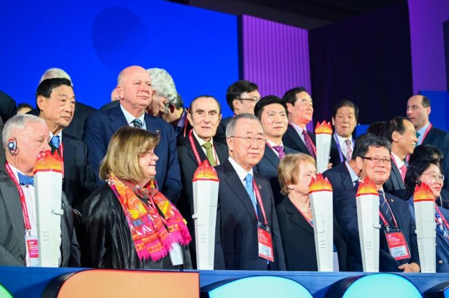 Former United Nations Secretary General Ban Ki-moon and other delegates kicked off the Pyeongchang Peace Forum 2020 in South Korea on Sunday. Photo by Thomas Maresca/UPI