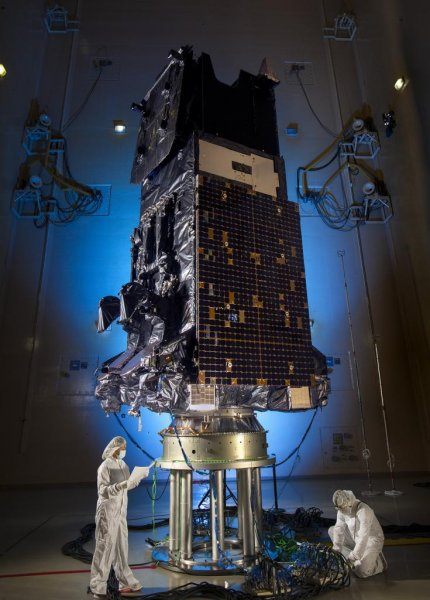 The latest U.S. Space Force Space Based Infrared System Geosynchronous Earth Orbit satellite, used to detect missile launches, is ready for launch, maker Lockheed Martin said on Wednesday. Photo courtesy of Lockheed Martin Space