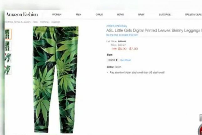 These marijuana leaf-printed leggings are being sold in sizes for girls as young as 3. Screenshot: WFTX