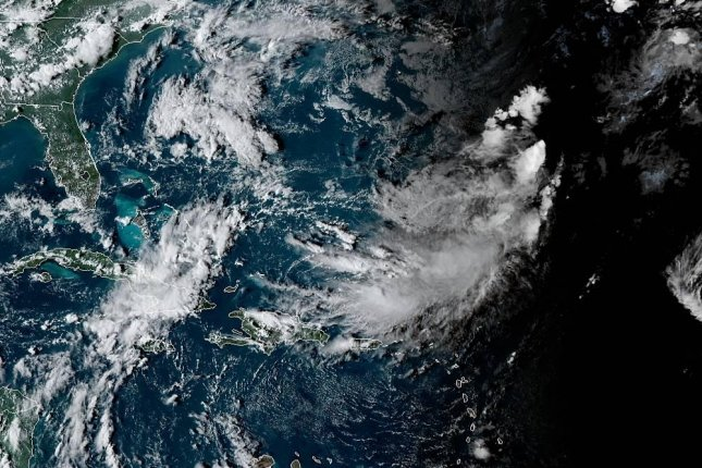 The remnants of Tropical Storm Karen are moving toward the northeast. Photo courtesy of NOAA