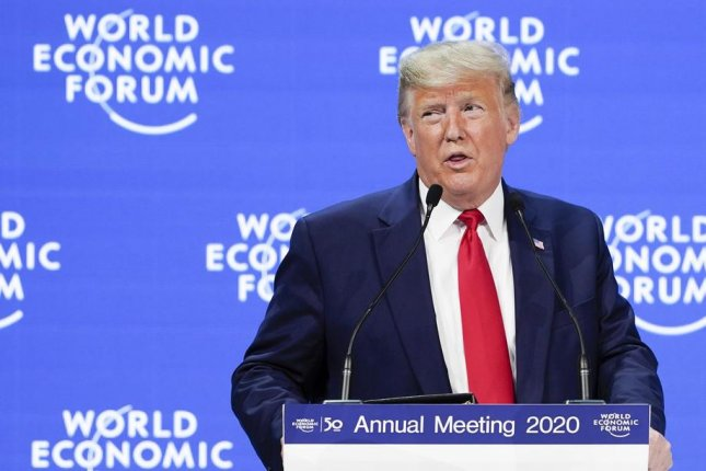 President Donald Trump, speaking at the 50th annual meeting of the World Economic Forum in Davos, Switzerland, on Tuesday, touted U.S. economic performance under his administration. Photo by Gian Ehrenzeller/EPA-EFE
