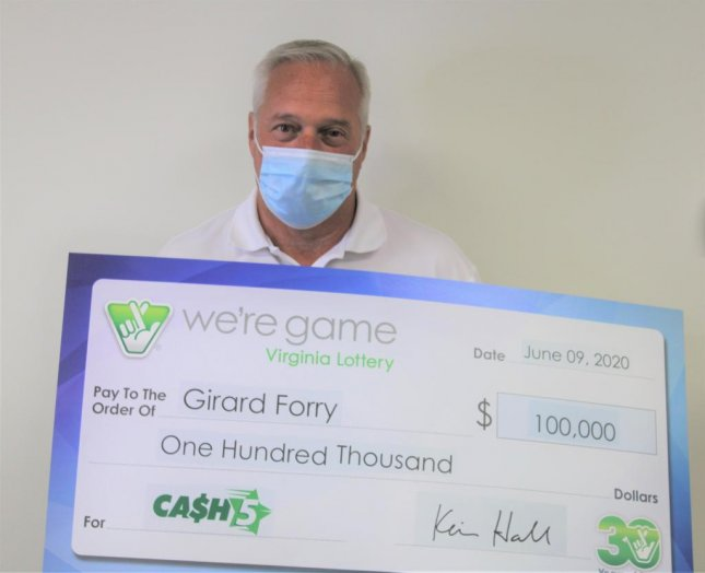 A Virginia man said a trip to the store for hot dogs lead to his winning a $100,000 lottery jackpot. Photo courtesy of the Virginia Lottery