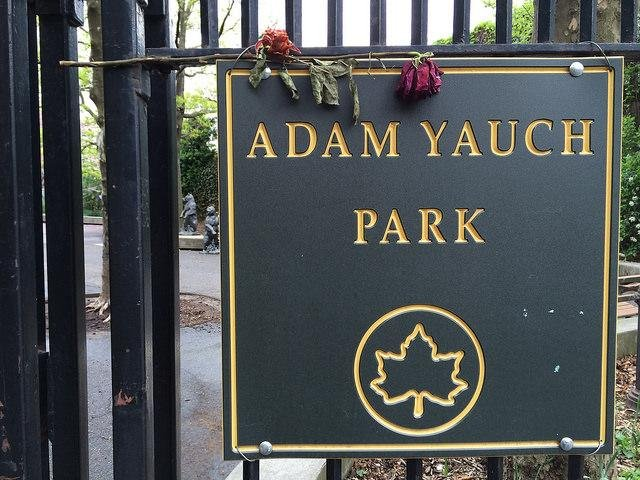 Hundreds of fans rallied with local leaders and Adam Ad-Rock Horovitz against racism after Adam Yauch Park in Brooklyn, named for the legendary member of the Beastie Boys after his death in 2012, was vandalized with swastikas and Go Trump painted on playground equipment. Photo by Sam Beebe/Flickr.com