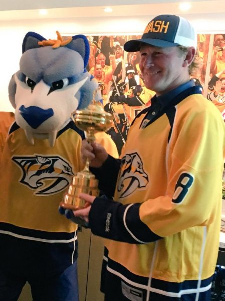 Brandt Snedeker took the Ryder Cup to a Nashville Predators playoff game. Photo courtesy Gnash/Nashville Predators via Twitter.
