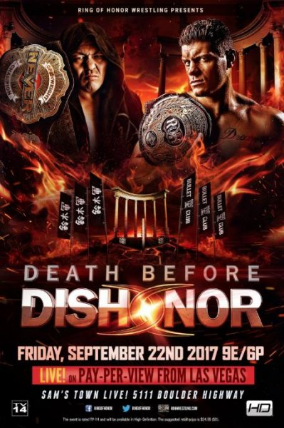 Ring of Honor World Champion Cody (R) is set to take on New Japan Pro-Wrestling's NEVER Openweight Champion Minoru Suzuki at Death Before Dishonor XV on Friday. Photo courtesy of Ring of Honor
