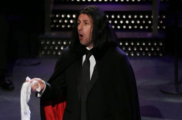 Adam Sandler revived his classic character Opera Man for the Saturday Night Live 40th anniversary special Feb. 15, 2015. NBC