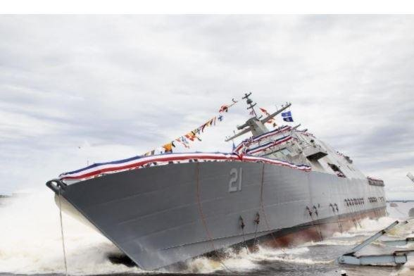 The littoral combat ship USS Minneapolis-St. Paul, here at its June 14, 2020, launch, completed its acceptance trials, the U.S. Navy said on Monday. Photo courtesy of Lockheed Martin