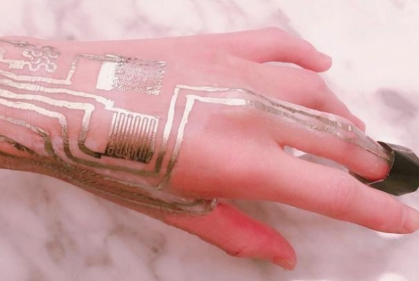 Researchers created a wearable biomedical sensor that can be printed directly onto skin without high temperatures. Photo byLing Zhang, Penn State/Cheng Lab and Harbin Institute of Technology