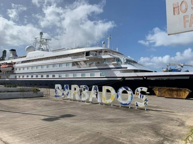 SeaDream I has docked in Barbados after confirming cases of COVID-19 among its 53 passengers. Photo courtesy of SeaDream Yacht Club/Twitter