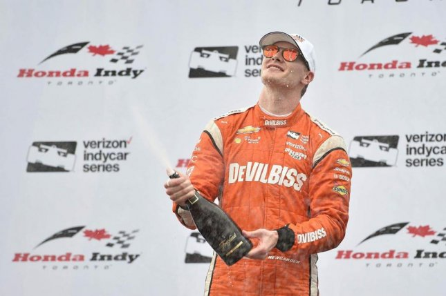 Josef Newgarden (pictured) won the Honda Indy Toronto Verizon IndyCar Series event on the 1.786-mile Streets of Toronto's Exhibition Place on Sunday. Photo courtesy of Honda Indy Toronto/Twitter