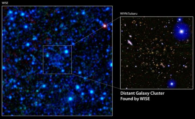 A galaxy cluster 7.7 billion light-years away has been discovered using infrared data from NASA's Wide-field Infrared Survey Explorer (WISE). Credit: NASA/JPL-Caltech/UCLA/WIYN/Subaru