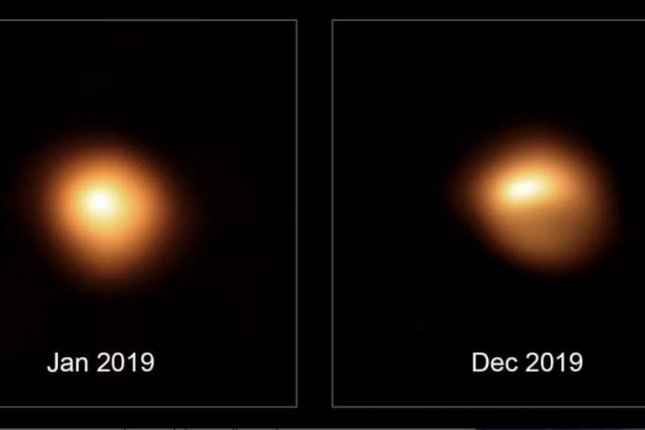 Before-and-after photographs of the star Betelgeuse show its decline in brightness.  Photo courtesy of European Southern Observatory