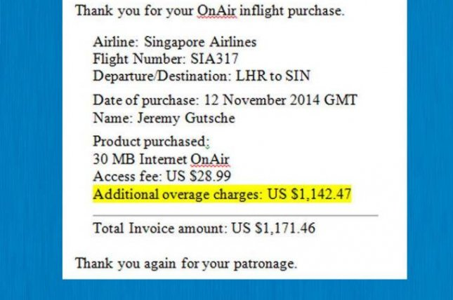 This was the bill Jeremy Gutsche got from Singapore Airlines after he signed up for Wi Fi access on the plane (Facebook/Jeremy Gutsche).
