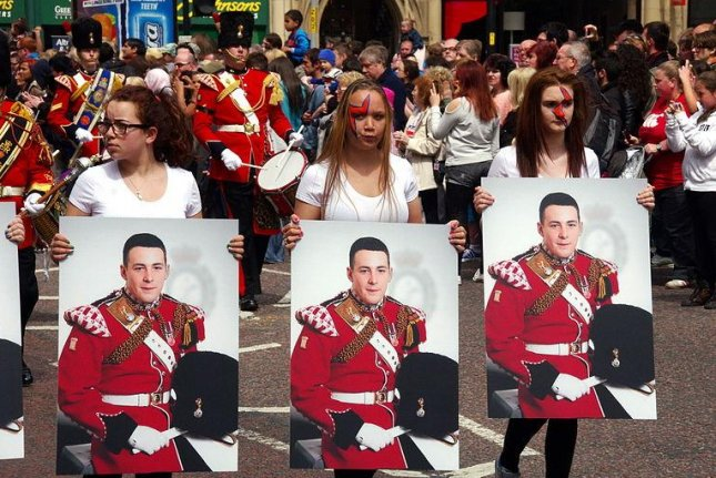 A tribute to slain British soldier Lee Rigby at the 2013 Manchester Day Parade. (CC/Donald Judge)