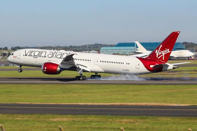 A Virgin Atlantic Boeing 787, like the one pictured above, reached record speeds of 801 mph while traveling through a powerful jet stream on Monday. Photo courtesy Mark Harkin/Wikimedia Commons
