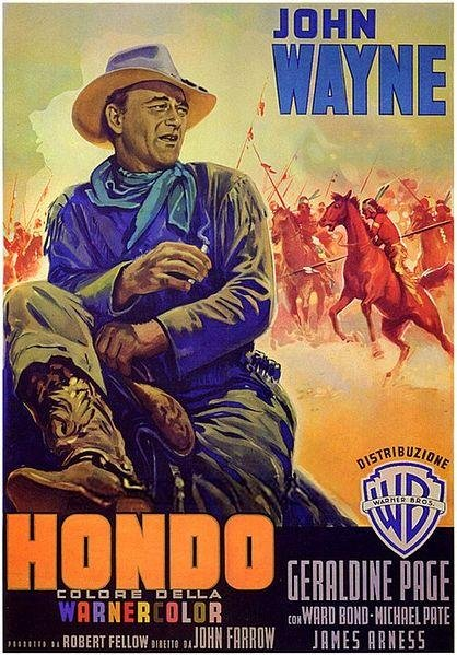 Movie poster for the 1953 film Hondo, starring John Wayne and Geraldine Page. Image courtesy of Wikipedia.