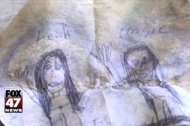 This drawing was among the papers found by Terry Smith in a bottle that was tossed into the Grand River by two young girls in 1994. WSYM-TV screenshot