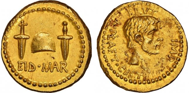 A gold coin commemorating the assassination of Julius Caesar, minted just two years after the death of the Roman leader, fetched a record-breaking high bid of $3.5 million at an auction in Britain. Photo courtesy of the Numismatic Guaranty Corp.