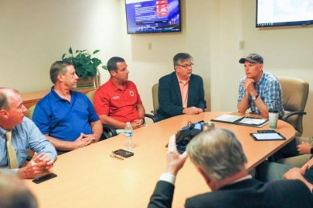Florida Gov. Rick Scott, at far right, met with Bay County, Fla., officials on Monday to discuss evacuations as Hurricane Michael approaches the Gulf Coast. Photo courtesy of Florida State Emergency Response Team/Twitter