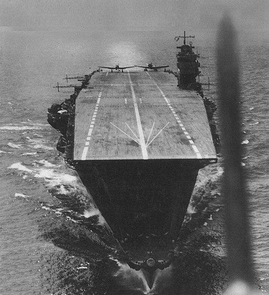 The Japanese aircraft carrier Akagi is seen in the Indian Ocean in April 1942. File Photo by Kure Maritime Museum