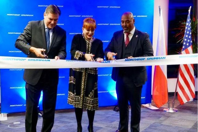 Northrop Grumman vice president Dan Verwiel, L, U.S. Ambassador to Poland Georgette Mosbacher, C, and Northrop Grumman vice president Tarik Reyes, R, opened the company's new office in Warsaw on November 21, 2019. Photo by Fot. K. Gontarek/U.S. Embassy Warsaw/UPI